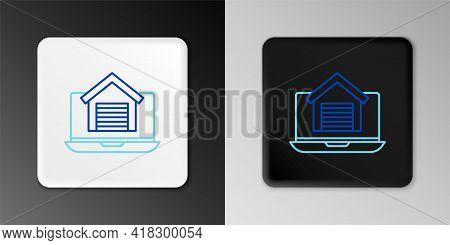 Line Online Real Estate House On Laptop Icon Isolated On Grey Background. Home Loan Concept, Rent, B