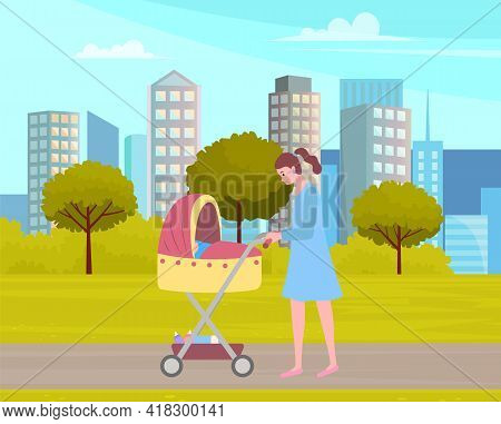 Young Mother Strolling In Park With Baby Stroller. Woman Rolls Stroller With Newborn. Family Walking