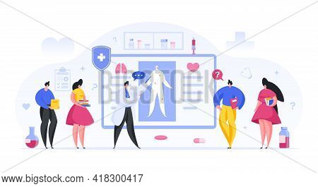 Colorful Vector Illustration Of Male Lecturer Speaking And Showing Human Body Scheme To Students Dur