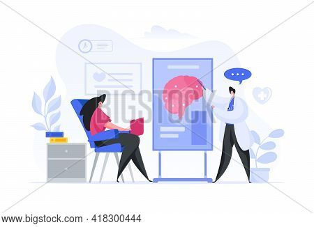 Colorful Vector Illustration Of Male Medical Practitioner Demonstrating Brain Scheme To Female Patie