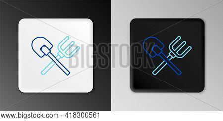 Line Shovel And Rake Icon Isolated On Grey Background. Tool For Horticulture, Agriculture, Gardening