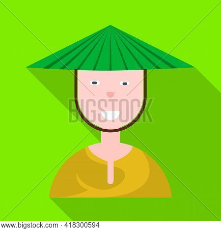 Vector Illustration Of Vietnamese And Portrait Icon. Set Of Vietnamese And Costume Stock Symbol For