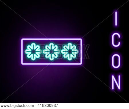 Glowing Neon Line Password Protection And Safety Access Icon Isolated On Black Background. Security,