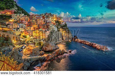 Manarola Cinque Terre Italia Coast Of Liguria. High Quality Photo