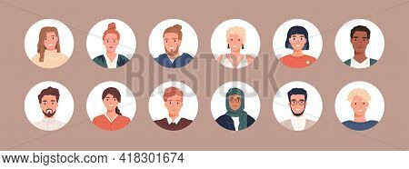 Circle Avatars With Young Peoples Faces. Portraits Of Diverse Men And Women Of Different Races. Set