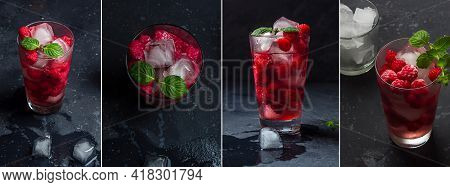 Collage Of Raspberry Alcoholic Cocktail With Liqueur, Vodka, Ice And Mint On Dark Background. Raspbe
