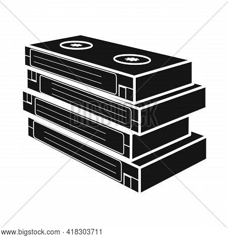 Isolated Object Of Cassette And Videotape Icon. Web Element Of Cassette And Stack Vector Icon For St