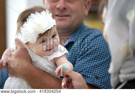 July 15, 2020, Belarus, The City Of Gomil, A Church In The City. Baptism Of The Child. Godfathers Wi