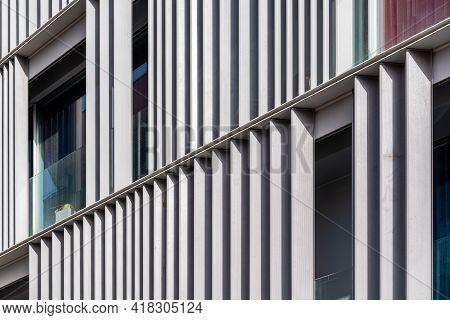 Steel Facade. Architecture Details. Facade Metal Geometric Structure