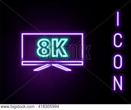 Glowing Neon Line Screen Tv With 8k Ultra Hd Video Technology Icon Isolated On Black Background. Col