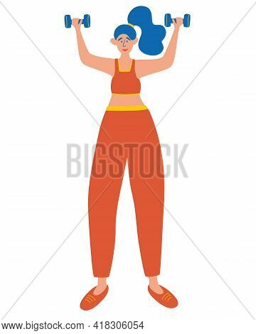 Young Girl Is Engaged In Sports With Dumbbells, Exercises On Her Hands. Woman Lifts Dumbbells Up. Tr