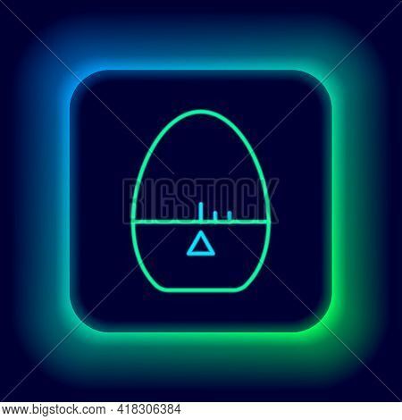 Glowing Neon Line Kitchen Timer Icon Isolated On Black Background. Egg Timer. Cooking Utensil. Color