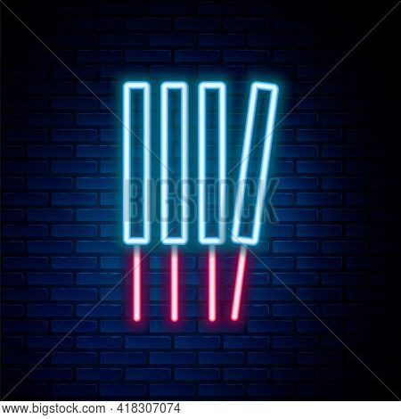 Glowing Neon Line Aroma Sticks, Incense, Aromas Icon Isolated On Brick Wall Background. Colorful Out