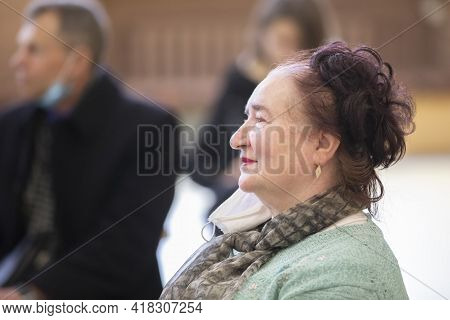Belarus, The City Of Gomil, April 17, 2021 Meeting Club Of The Elderly. Portrait Of A Happy Elderly