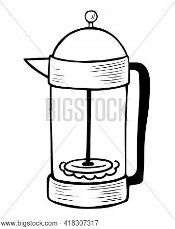 Doodle Hand Drawn French Press. French Press - A Simple Device For Brewing Coffee. Brewing Metal Tea