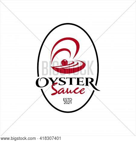 Simple Oyster Sauce Logo Seafood Flavor Label And Sticker For Culinary Industry Graphic Design Inspi