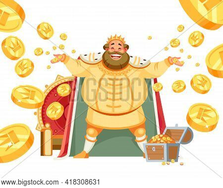 Celebrating Happiness, Joyful King With A Big Smile Throws Gold, Treasures. The Concept Of Wealth. T