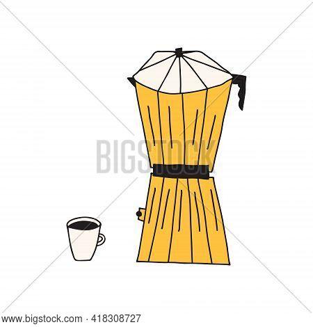 Hand Drawn Doodle Illustration Of Moka Percolator Coffee Pot For Brewing Hot Espresso Coffee. Isolat