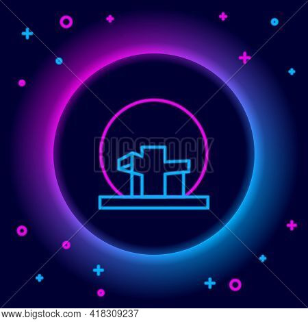 Glowing Neon Line Montreal Biosphere Icon Isolated On Black Background. Colorful Outline Concept. Ve
