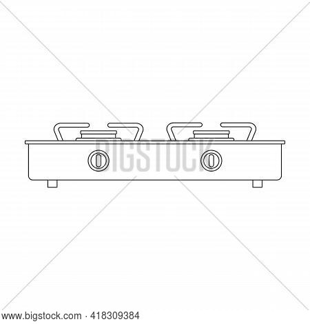 Electric Stove Vector Icon.outline Vector Icon Isolated On White Background Electric Stove.