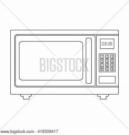 Microwave Oven Vector Icon.outline Vector Icon Isolated On White Background Microwave Oven.