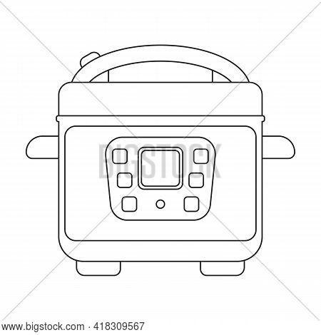 Slow Cooker Vector Icon.outline Vector Icon Isolated On White Background Slow Cooker.