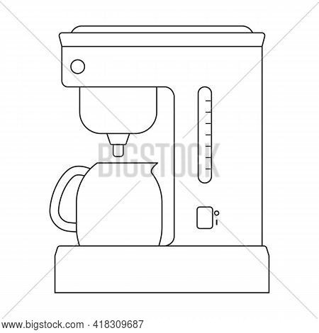Coffee Maker Vector Icon.outline Vector Icon Isolated On White Background Coffee Maker.