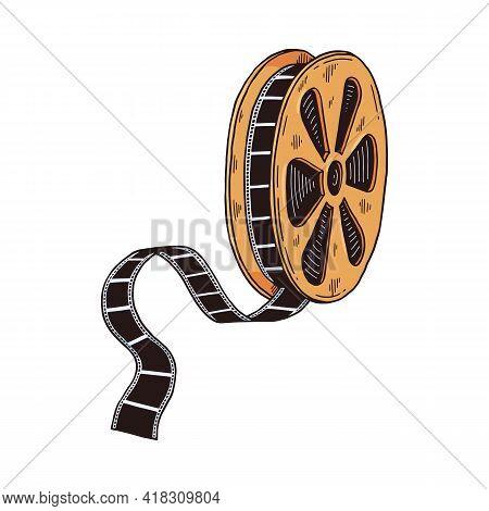 Retro Reel Of Film Cartoon Symbol, Sketch Vector Illustration Isolated.