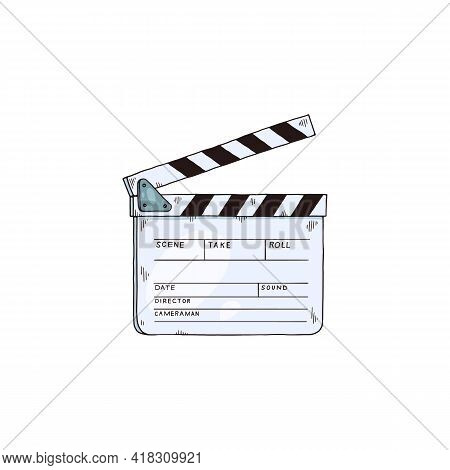 Isolated Icon Of Movie Cinema Clapper Board A Vector Sketch Illustration