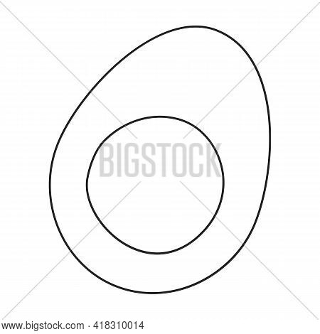 Egg Chicken Vector Outline Icon. Vector Illustration Farm Food On White Background. Isolated Outline