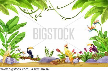 Jungle Vector Tropical Frame, Nature Exotic Background, Toucan, Parrot, Banana Leaf, Liana, Stone, F