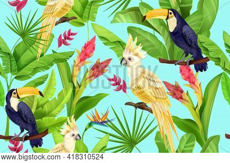 Jungle Vector Seamless Pattern, Summer Floral Exotic Texture, Toucan, Parrot, Banana Leaf, Flowers.