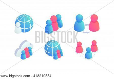 Global People Teamwork Isometric Vector Icons Set. 3d Globe Business, Social Media Network Users, In