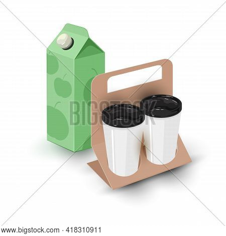 Cartoon Of Apple Juice Package And Tasty Aromatic Drinks For Takeaway. Vector Drink And Go, Hot Liqu