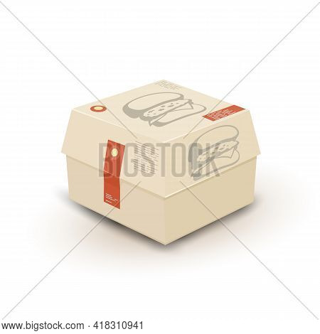 Cartoon Of Yummy Meal Order Via Delivery Service, Takeaway Or Fast Food. Vector Unhealthy Eating, Qu