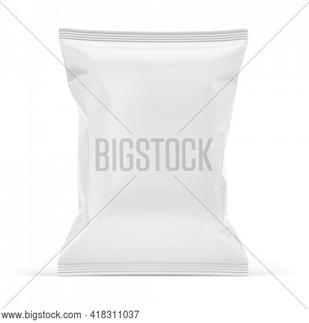 Blank white plastic bag. Food snack, chips packaging isolated on white beckground. 3d rendering mockup template