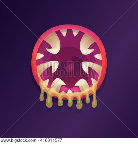 Toothy Mouth Of Scary Monster Or Alien Animal A Flat Cartoon Vector Illustration