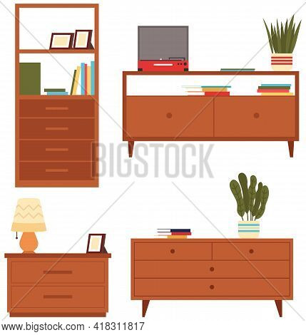 Set Of Illustrations On Theme Of Storage Furniture. Chests Of Drawers Vector Illustration. Wooden Co