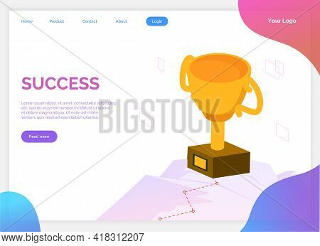 Success Banner. Winner Vision, Reaching The Goal, Business Target. Successful Teamwork Strategy, Con