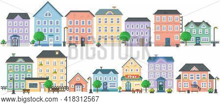Pixel Art Empty City Vector. Pixelated City Downtown Landscape With Small Houses And Buildings. Desi