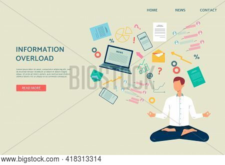 Information Overload Banner With Man Anxious Of News, Flat Vector Illustration.