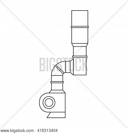Air System Vector Outline Icon. Vector Illustration System Ventilation, On White Background. Isolate