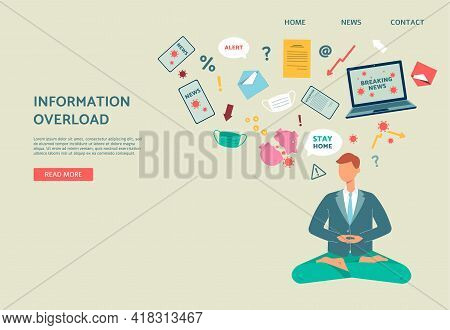 Information Overload And Breaking News Stress Webpage, Flat Vector Illustration.