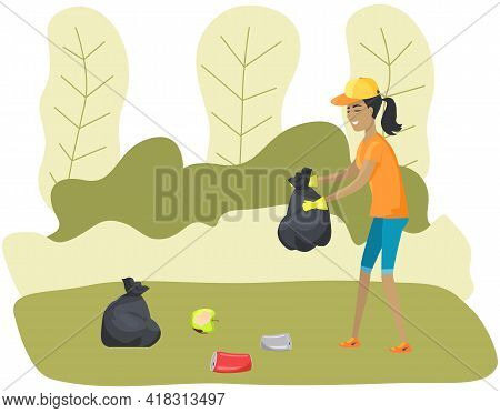 Female Character Cleans Up Garbage In Green Park. Maintaining Forest Clean From Garbage And Trash. W