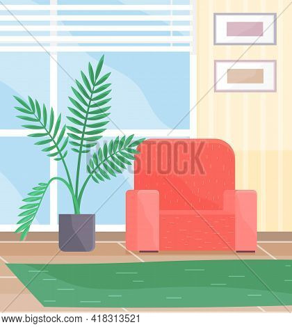 Living Room Interior Design With Red Chair. Green Carpet, Pictures On Wall And Potted Plant. Arrange
