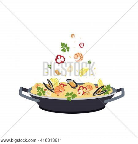 Spanish Paella With Shrimp, Mussels And Squid In A Pan, Isolated On A White Background. Mediterranea