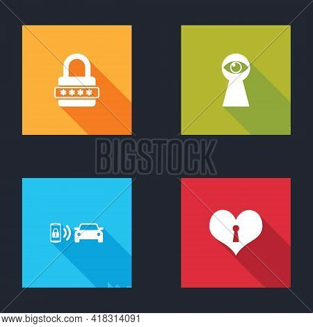 Set Password Protection, Keyhole With Eye, Smart Car Alarm System And Heart Keyhole Icon. Vector