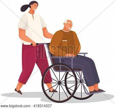 Girl Take Care Of Retiree From Nursing Home. Woman Smiles And Rolls Old Man In Wheelchair. Assistant