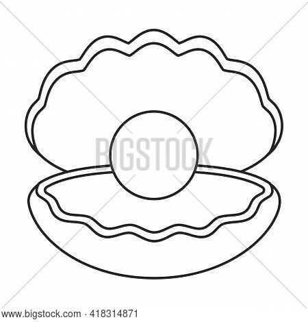 Pearl Shell Vector Outline Icon. Vector Illustration Pearl Shell On White Background. Isolated Outli