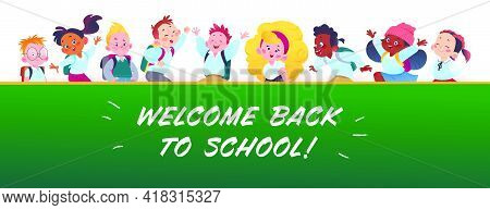 Banner With Happy School Kids, School Blackboard And Text Back To School Greeting. Multiethnic Stude